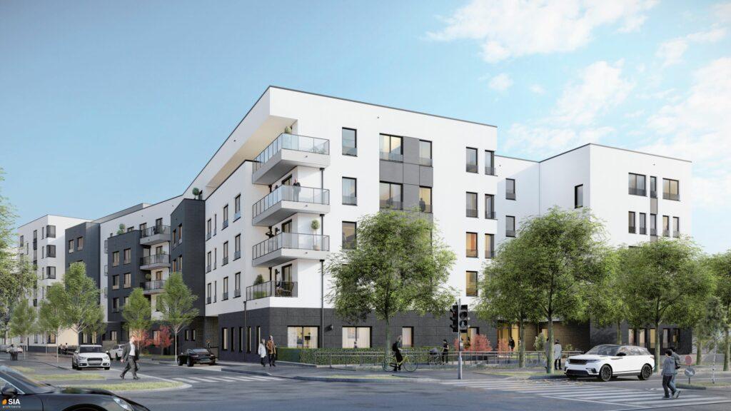 Vue angle immeuble Maison de repos et de soins Recital Merl-Luxembourg - SIA.Architects