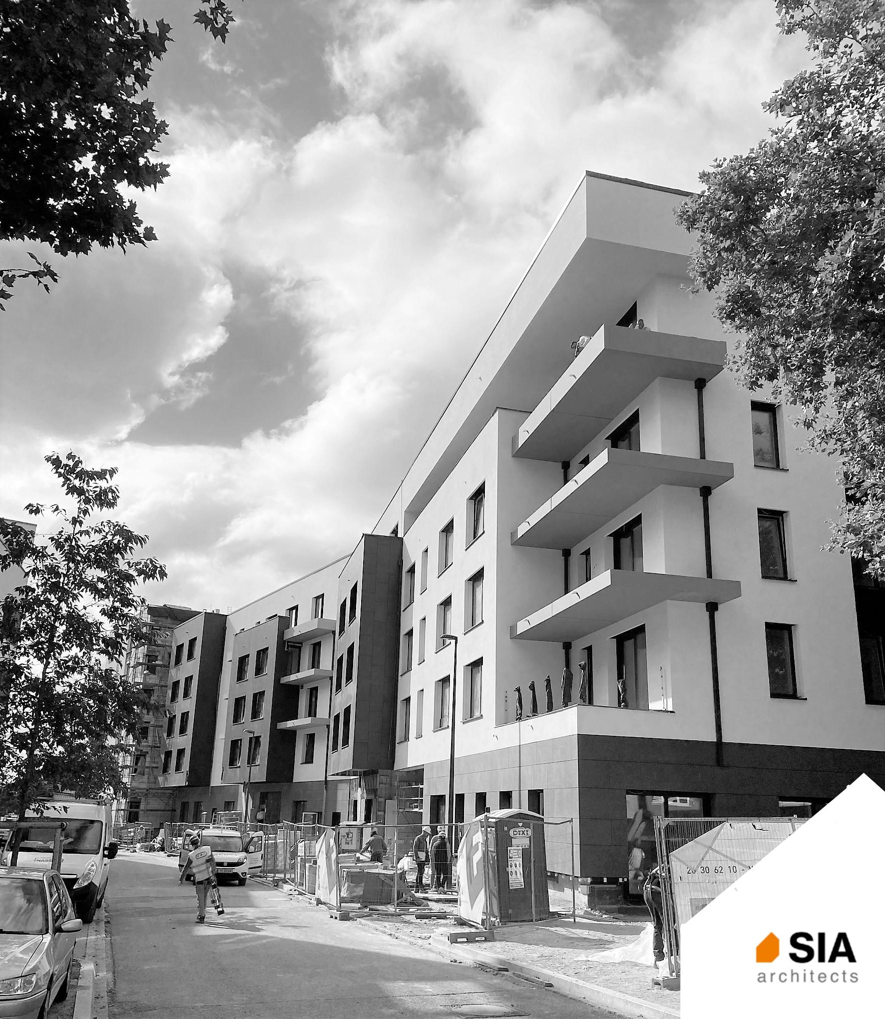 Vue extérieure immeuble en construction Maison de repos et de soins Recital Merl-Luxembourg - SIA.Architects