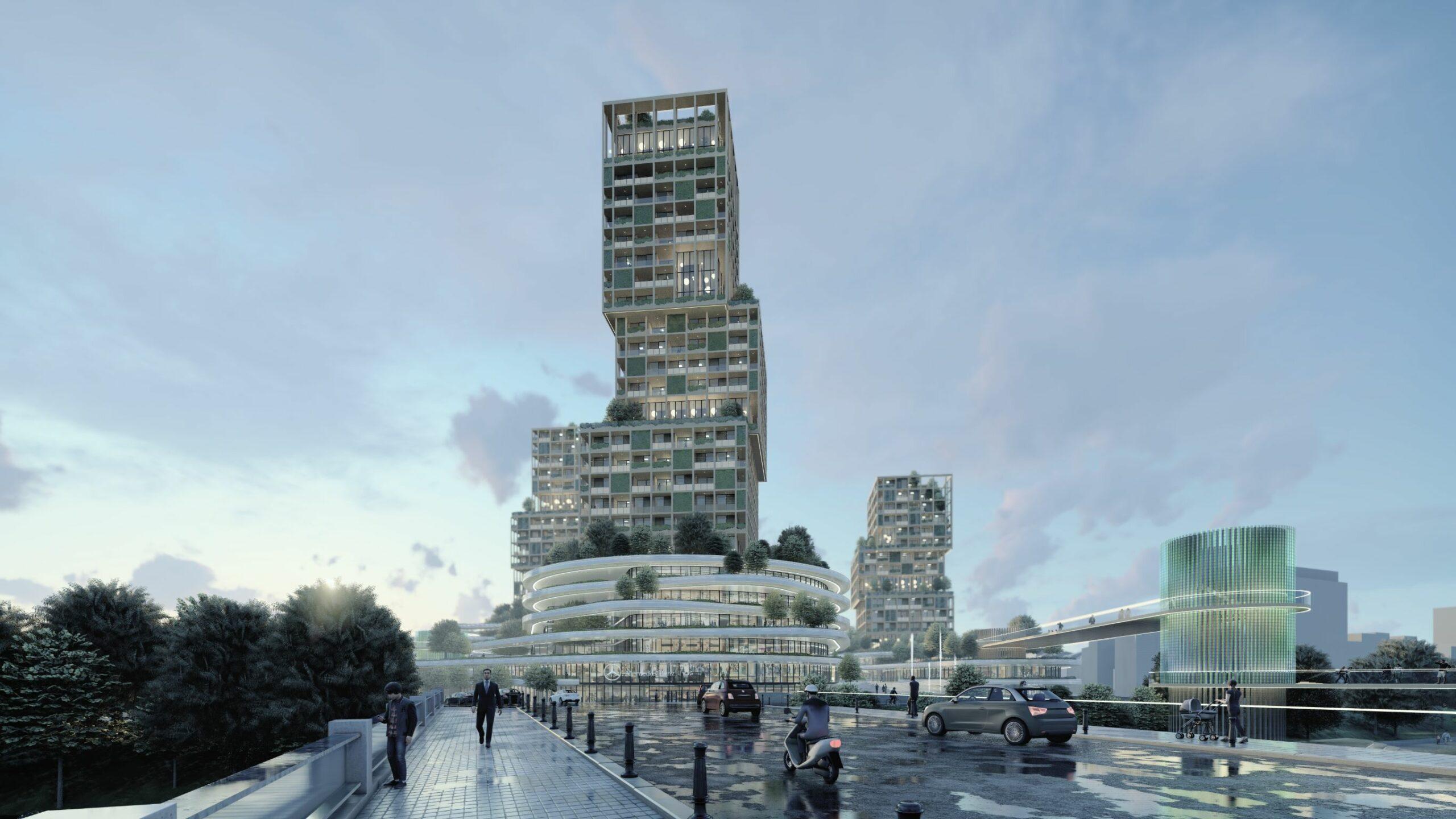 Ensemble de 3 tours mixtes en ossature bois - SIA.architects