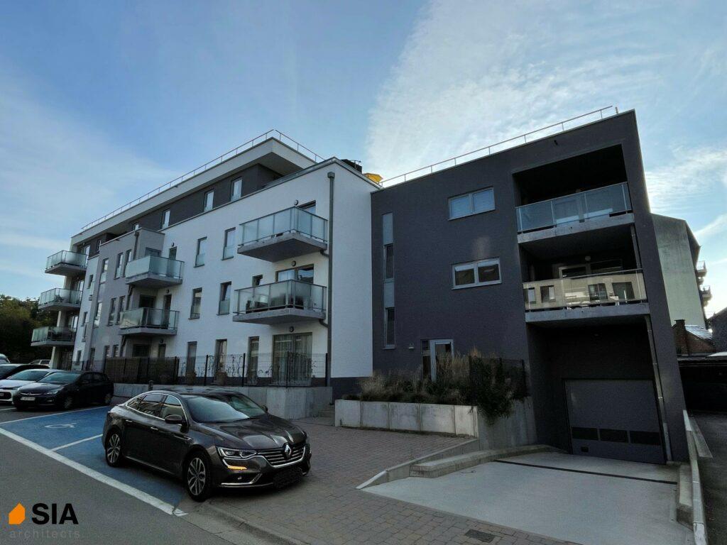 Résidence à vivre Libramont - Vue entrée garage - SIA.architects